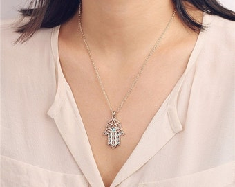 ON SALE Hamsa necklace with turquoise beads