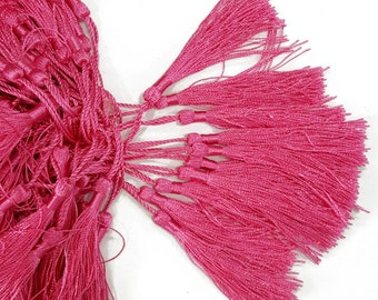Pink Fuchsia Tassels for Accessories, Shoes, Bags 4 PCS