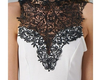 SALE Black Lace Crochet  Collar for sewing and crafting