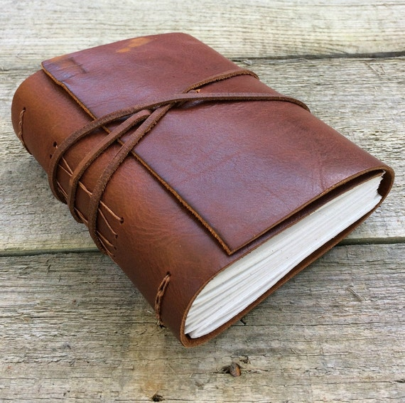 "Leather journal, Robert Frost quote, ""The road not taken"", brown leather journal, rustic journal, by moon and hare"