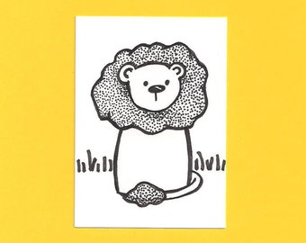 ACEO,  ATC, Lion, Original, Art Trading Card, Hand Drawn, Kid Friendly, Black and White