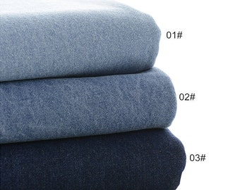 Denim Cotton Fabric, Washed Denim, blue denim, Heavy Weight, diy,Sewing 1/2 yard  (QT926)
