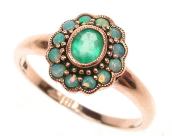 Rose Gold Emerald Ring, 9ct 9k 14k 18k Solid Gold, Vintage Opal Ring, Victorian Emerald Opal Ring -Also Avail in Various Gems- Custom, R179
