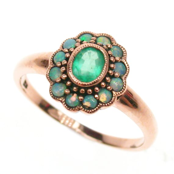 Rose Gold Emerald Ring 9ct 9k 14k 18k Solid Gold Vintage