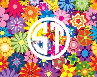 Bright Flower 2 printed indoor, outdoor, glitter, and metallic decal VINYL or heat transfer vinyl HTV or applique FABRIC