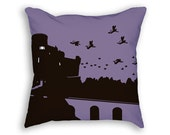 Flying Monkey Pillow - Flying Monkey Throw Pillow - Purple Pillow - Decorative Cushion - Oz Decor - Wizard of Oz Gift - Castle Print
