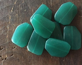 Tucson Teal Green Glass Slab Beads - 40mm x 30mm - Big and Bad Focal Beads -  Blue Green Glass Rectangles