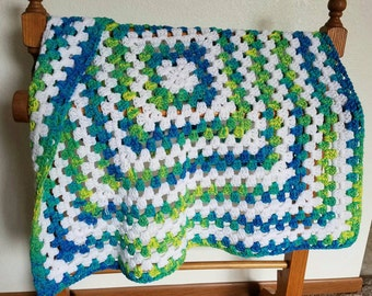 Blue, Green, Yellow, and White Baby Blanket