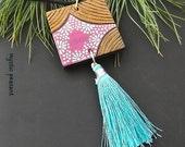 Moroccan Style Wood Tassel Ornament - Ebony Gold Pink Turquoise Tassel Decoration - Bohemian Decor - Hand Painted Ornament