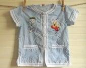 Vintage Blue Cotton Chinese Applique Shirt, Boys Size 6 Cotton Shirt, Short Sleeve Shirt, Blue and White Cotton Top, Boys 6