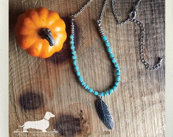 Bohemian Desert. Necklace -- (Vintage-Style, Gypsy, Silver, Turquoise, Feather, Tribal, Rustic Chic, Fall, Autumn, Gift For Her Under 15)