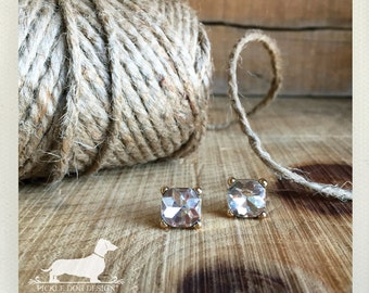 Classic Gem. Post Earrings -- (Vintage Style, Gold, Rustic, For The Bride, Wedding, Bridesmaid Jewelry, Faux Diamond, Wedding, Under 10)