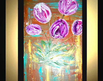 Original Large Abstract Painting Modern Acrylic Painting Oil Painting Canvas Art Gold BLOOMING TULIPS Pink 36x24 Textured Wall Art  J.LEIGH