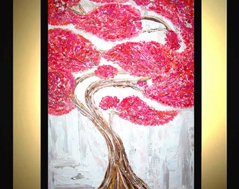 Original Large Abstract Painting Modern Acrylic Painting Oil Painting Canvas Art RED BONSAI White Silver 36x24 Textured Wall Art  J.LEIGH