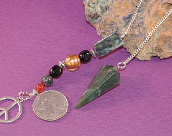 Dowsing Pendulum Jasper and Peace Sign OOAK Divination Pagan Witchy New Age Magick Wicca 151018P