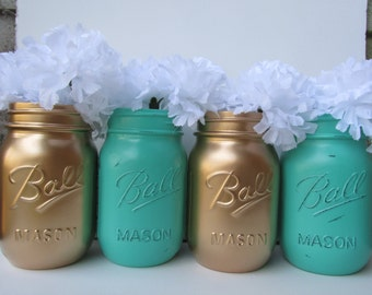 Painted and Distressed Ball Mason Jars- Gold and Turquoise/Teal/Seafoam-Set of 4 Flower Vases, Rustic Wedding, Centerpieces