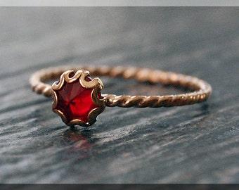 Gold Garnet Ring, January Birthstone Ring, Mini Inverted Gemstone Ring, 14k Gold Filled Ring, Garnet Stacking Ring, Garnet Birthstone Ring