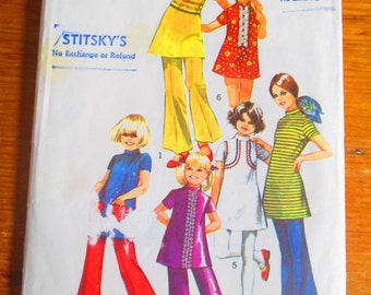 Simplicity 9535 Pattern - Cut & Complete 1970s Child Size 6 - Mini-Dress and Bell Bottom Pants