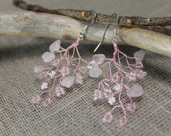 Cherry blossom earrings, beaded, wire wrap earrings, rose quartz, wedding, nature, gifts to her,