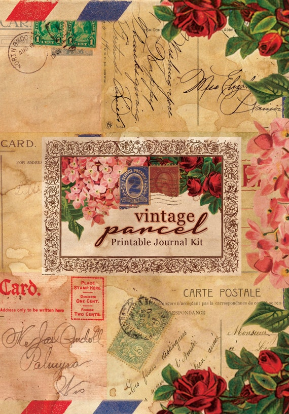 Printable Journal Kit - Vintage Parcel - 24 page Instant Download - junk journal kit, digital download, journal pages