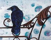 Raven Painting, Realistic Art, Acrylic on Canvas, Gothic