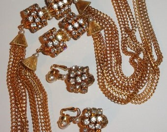 Unique Multi Strand Chain Rhinestones Simulated Faux Pearl Clip Earrings & Long Necklace Set