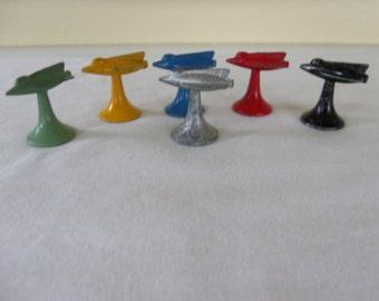 6 Vintage 1950s Metal Space Ship Rocket Board Game Pieces Mid century Conflict?