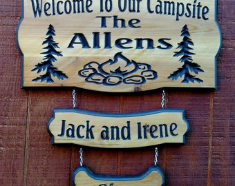 Custom Carved Camping  Sign   with options to add on up to 4 pet/name  signs