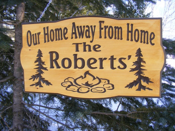 Camping Sign Personalized Cedar Carved Wood By