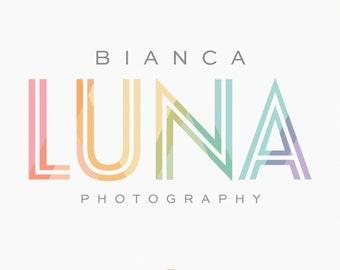 Premade Logo - Modern Rainbow Typography Logo - Photography Logo - Boutique Logo - Blog Logo - Logo Design