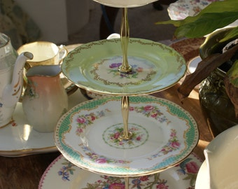 4 tier vintage china cake stand