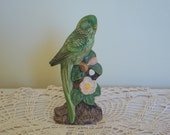 Vintage Ceramic Parakeet Figurine, Circa: 1980's, Home Decor, Collectable Bird Figurine, Gift Item