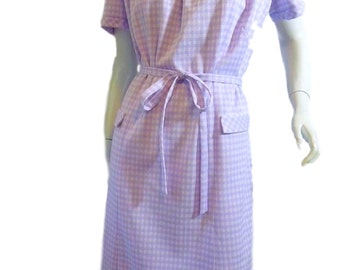 70s or late 60s Belted Shift Day Dress in Lavendar Houndstooth - lg, xl, plus size