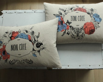 My side / your side cushions in French