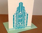 Single Oakland Art Deco Linocut Card in Turquoise