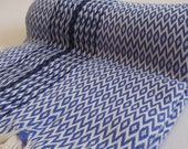 Diamod Pattern Turkish Towel Peshtemal towel in blue ivory  color with black Aztec stripe Cotton soft