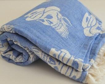 Turkish Towel Pirate Peshtemal towel Cotton Peshtemal in blue soft