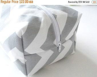 BACK 2 SCHOOL SALE Grey Chevron Makeup Bag  - Cosmetic Pouch -  Lunch Bag - Wet Bag -Waterproof Bag
