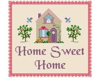 Home Sweet Home Cross Stitch Pattern - Cute Cross Stitch Pattern - Girls Cross Stitch - Easy Cross Stitch Pdf