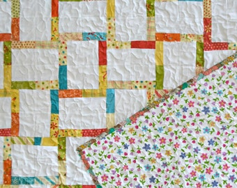 Rainbow Twin Bed Quilt - Rainbow Quilt - Girls Quilt - Lap Quilt - Baby Bedding - Moda Fabrics