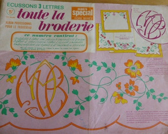 French  Linen Monogram Embroidery Pattern Booklet   3 Initials Circa 1968