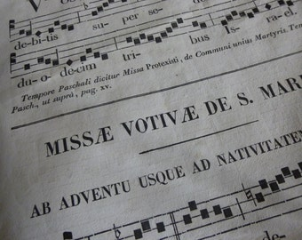 Antique Music Sheets, Latin, Neumes,  x 20  Pages For Craft work. French, Circa 1854