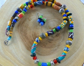 29 Inch African Trade Bead and Indonesian Glass Beaded Necklace with Earrings