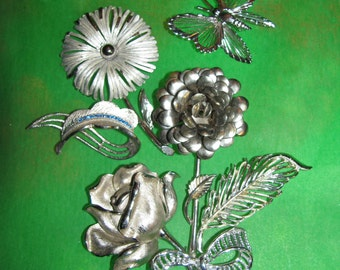 Destash Craft Lot of Vintage Jewelry, Brooches Flower Bridal Bouquet