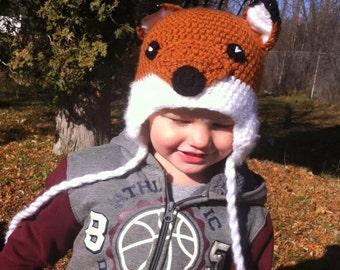 Crochet Hat, Fox Earflap Hat, Made to Order