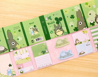 Scrapbook Greeting Card Sticky Memo Hang Tag Index Post it Pad - Green Totoro