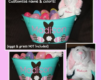Personalized Easter Basket AND Bunny - EGGS