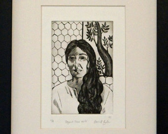 Dry point portrait print - portrait of a lady in front of patterned wall and tree , black and white