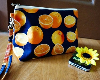 Dark Blue zipper bag , Dark blue cosmetic bag, Dark blue makeup bag, Orange Fruit makeup bag, Orange Fruit cosmetic bag, Fruits makeup pouch
