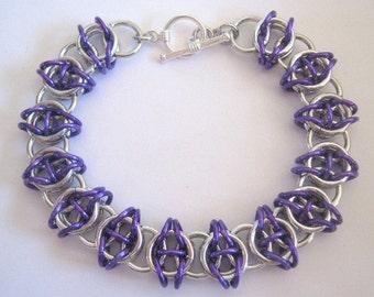 Bracelet Perky Purple Aluminum Chain Maille Bangle